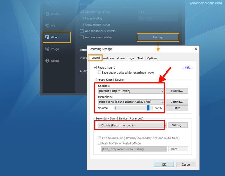 Bandicam settings for Skype