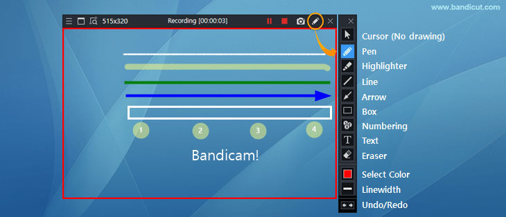 Bandicam, drawing function