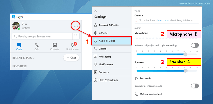 Skype settings - speakers, microphone, audio