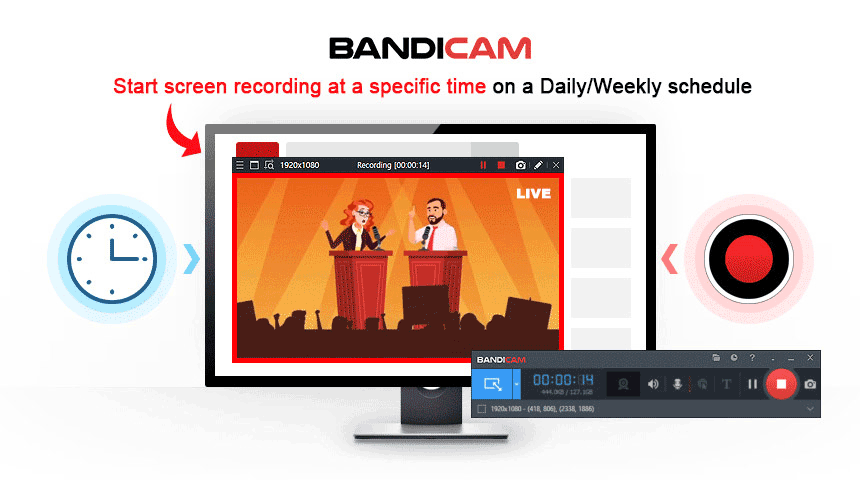 Scheduled recording, bandicam, screen capture