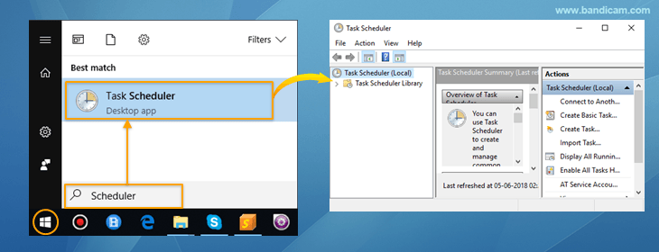 Windows Task Scheduler, start