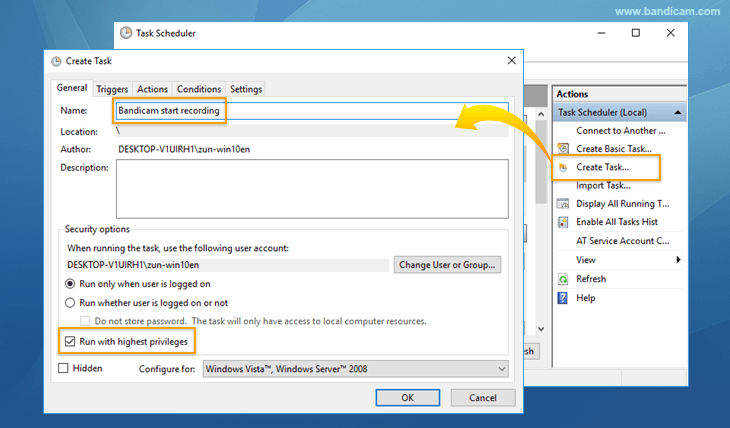 Schedule Recording, Windows task scheduler, General