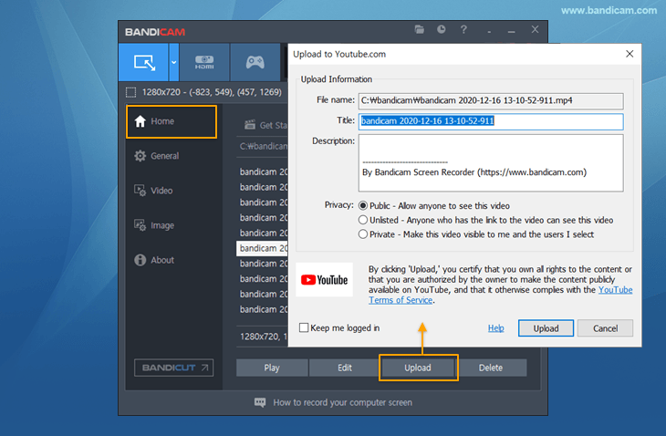 Upload tutorial videos to YouTube, Bandicam