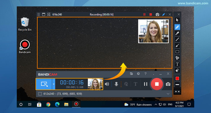 Facecam Screen Recorder, Add your face to the video